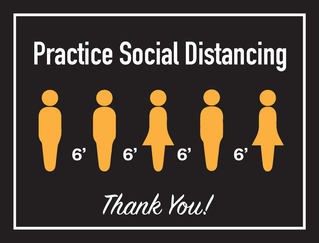 Hanging or mounted Social Distancing Sign - Sold as a set of 3