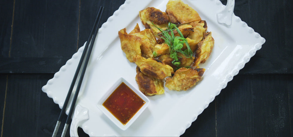 Fried Shrimp Wontons in Chili Sauce