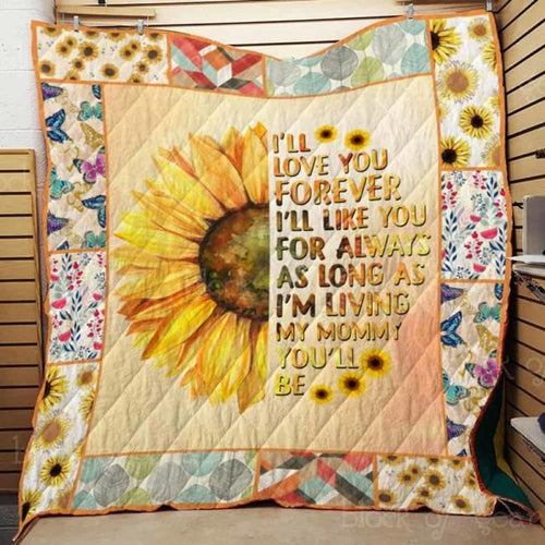 I Love Mom Quilt Blanket#4