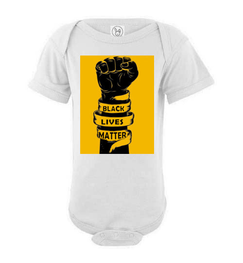 Black-Lives Matter Justice-for George Floyds FIST Graphic Baby Bodysuit Onesie (white-ts)