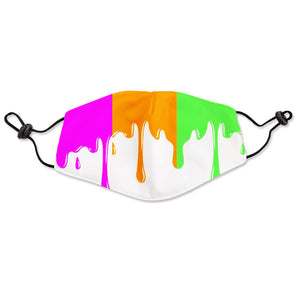 Neon Multi-Color Drip Fabric Mask
