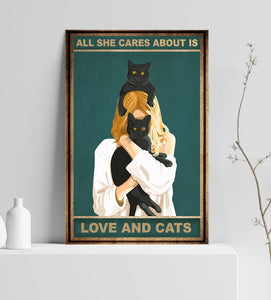 TT-HA Wall Decor Canvas - Cats And Love Are All She Cares About