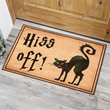 Load image into Gallery viewer, Black Cat Hiss Off Doormat