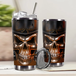 H-LK Design Vacuum Insulated Tumbler - Metal Skull