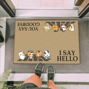 Group 4 Chibi Police Cats  I Say Hello Doormat