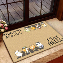 Load image into Gallery viewer, Group 4 Chibi Police Cats  I Say Hello Doormat
