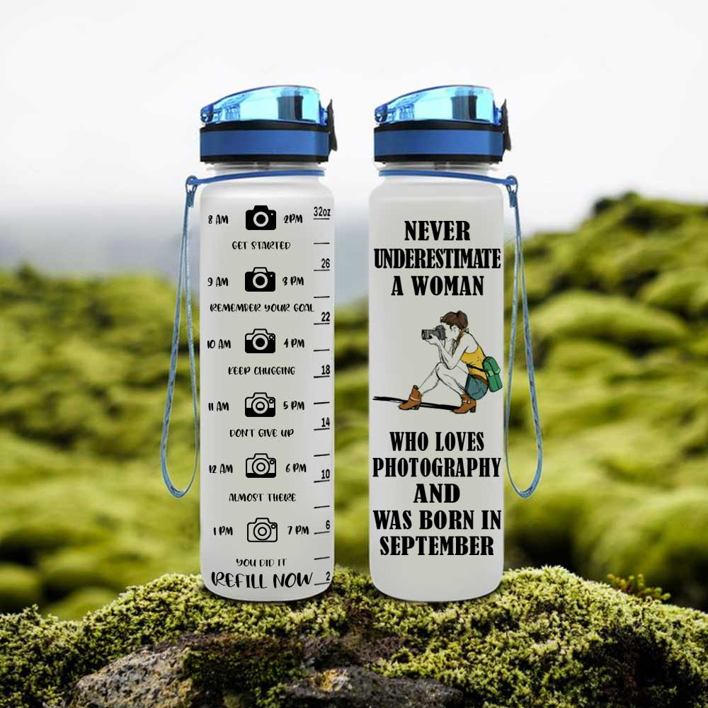 A Woman Loves Photography Born In September Water Tracker Bottle