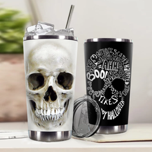 Load image into Gallery viewer, H-LK Design Vacuum Insulated Tumbler - Skull 3D Happy Halloween