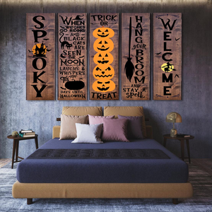 H-LK Combo 5 Vertical Printed Canvas - Halloween Front Porch Sign Pumpkins