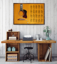 Load image into Gallery viewer, H-LK Horizontal Printed Canvas - Light Brown Acoustic Guitar 1962