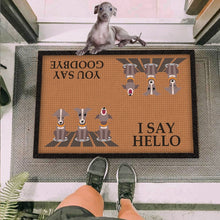 Load image into Gallery viewer, Greyhound Dog I Say Hello Brown Doormat