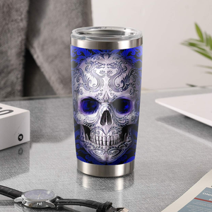 H-LK Design Vacuum Insulated Tumbler - Skull Blue Tattoo
