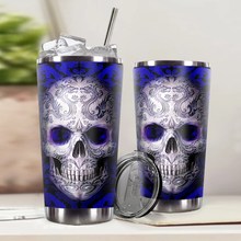Load image into Gallery viewer, H-LK Design Vacuum Insulated Tumbler - Skull Blue Tattoo