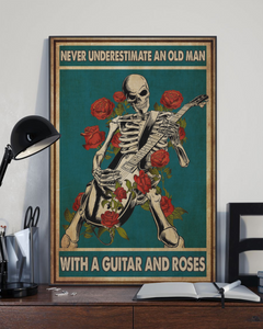 TR-DM Vertical Printed Canvas - Skeleton Guitar Roses