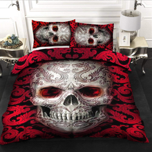Load image into Gallery viewer, H-LK Polyester Soft Printed Bedding Set - Skull Red Tattoo