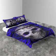 Load image into Gallery viewer, H-LK Polyester Soft Printed Bedding Set - Skull Blue Tattoo