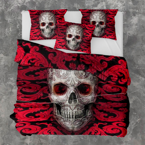 H-LK Polyester Soft Printed Bedding Set - Skull Red Tattoo