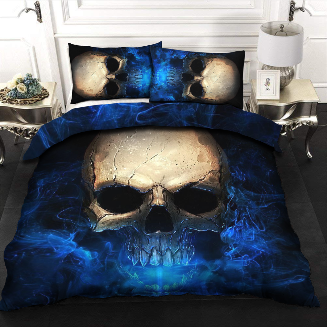 H-LK Polyester Soft Printed Bedding Set - Skull Blue Light