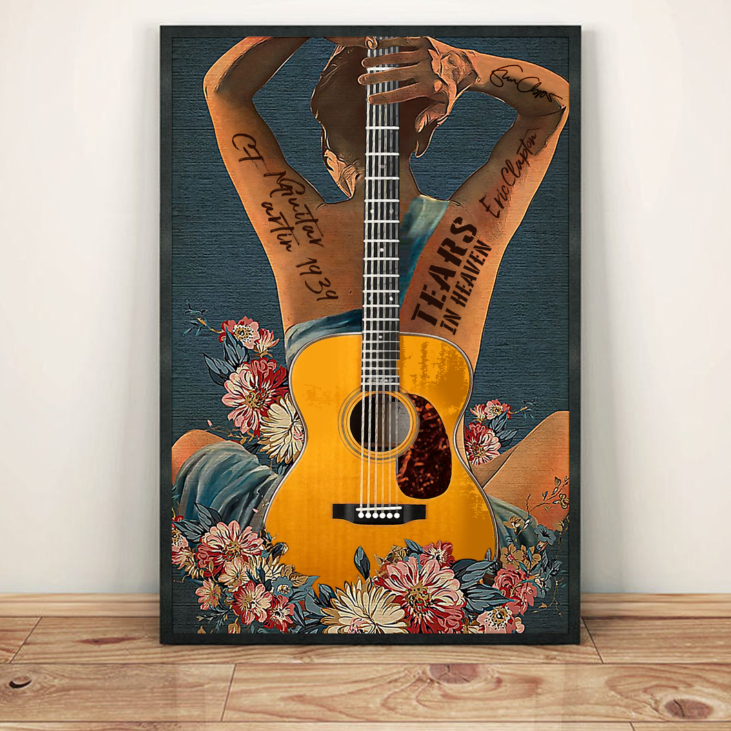 H-LK Vertical Printed Canvas - Yellow Guitar 1939