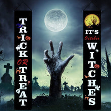 Load image into Gallery viewer, 2 Pieces It's October Witches Creative Trick or Treat Halloween Banner Porch Sign