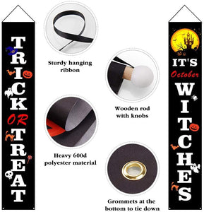 2 Pieces It's October Witches Creative Trick or Treat Halloween Banner Porch Sign