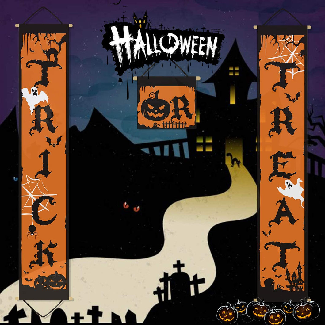 2 Pieces Trick or Treat Halloween Banner Porch Sign