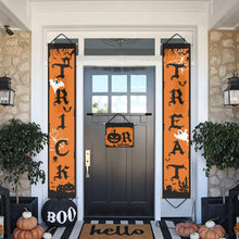 Load image into Gallery viewer, 2 Pieces Trick or Treat Halloween Banner Porch Sign