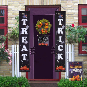 2 Pieces Trick or Treat Halloween Decorations Banner Porch Sign