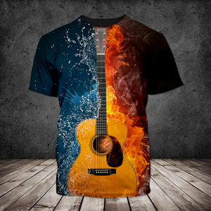 H-BB Standard Printed Allover 3D Combo Shirt - Classic Guitar Water And Fire