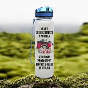 Photography And Month Of Birth Water Tracker Bottle