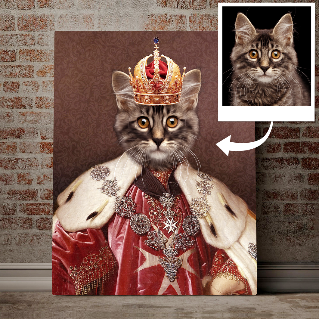Custom Pet Portrait Printed Canvas - Cat And Crown 02