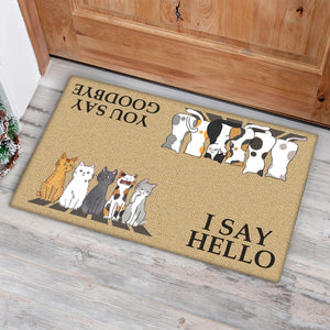 Group 5 Cats Looking I Say Hello Doormat