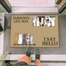 Load image into Gallery viewer, Group 5 Cats Looking I Say Hello Doormat