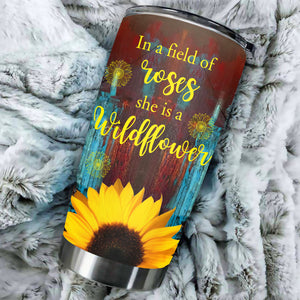 TT-HA Design Vacuum Insulated Tumbler - In A Field Of Roses She Is A Wildflower