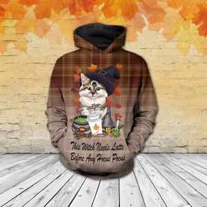 TT-HA Standard Printed Combo Allover 3D Tops - Cute Cat Witch