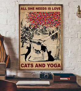 TT-HA Vertical Printed Canvas - All She Needs is Love, Cats and Yoga