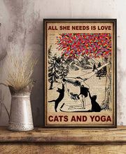 Load image into Gallery viewer, TT-HA Vertical Printed Canvas - All She Needs is Love, Cats and Yoga
