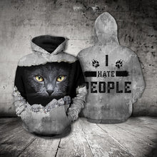 Load image into Gallery viewer, TT-HA Standard Printed Combo Allover T-Shirt - Black Cat I Hate People