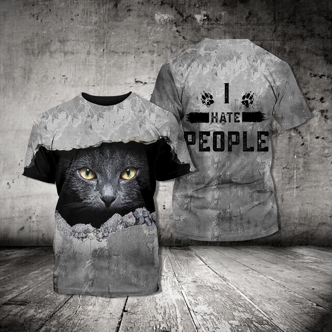TT-HA Standard Printed Combo Allover T-Shirt - Black Cat I Hate People