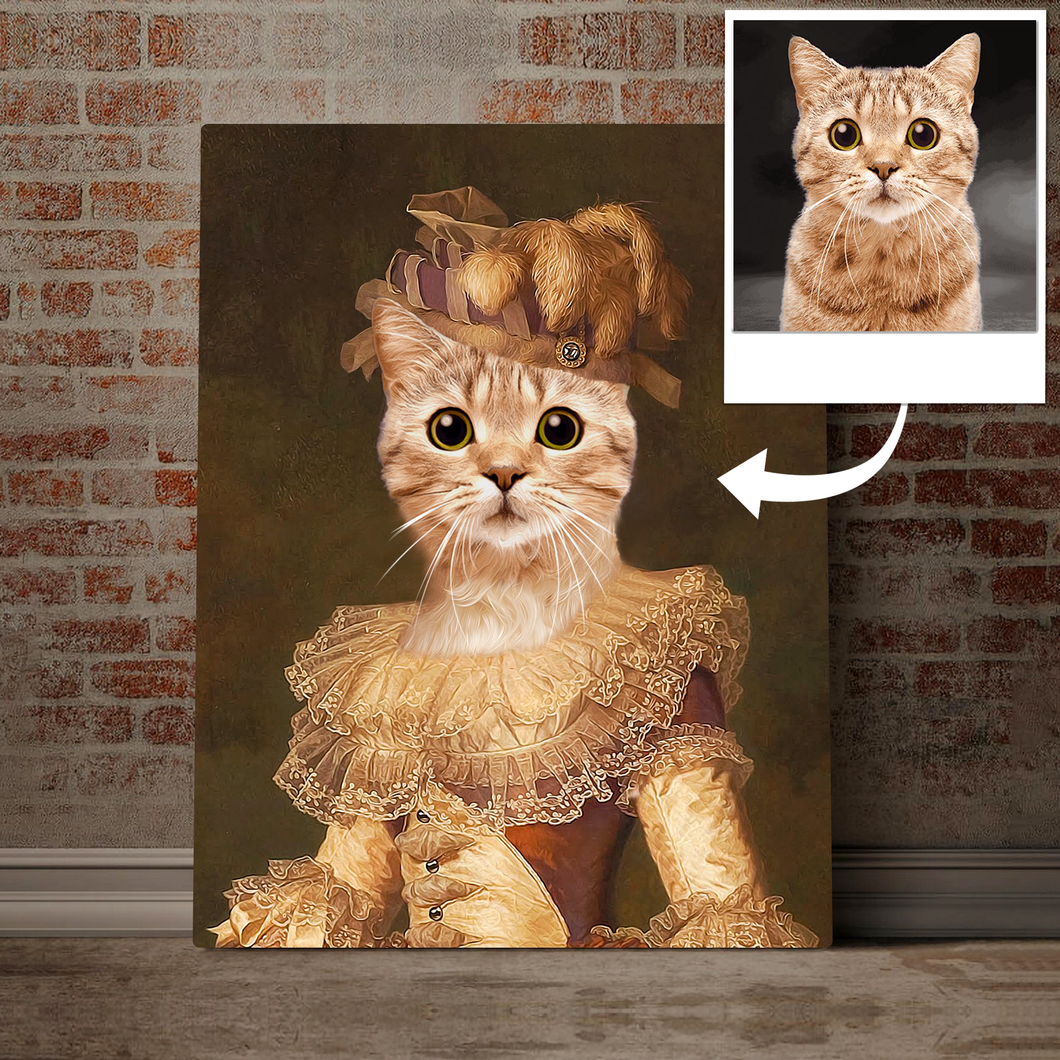 Custom Pet Portrait Printed Canvas - Cat And Crown