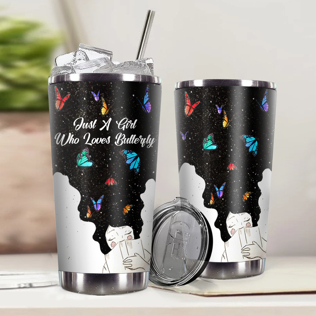 SP-LK Design Vacuum Insulated Tumbler - Just A Girl Who Loves Butterfly