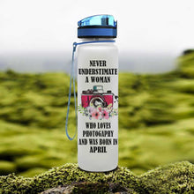 Load image into Gallery viewer, Photography And Month Of Birth Water Tracker Bottle