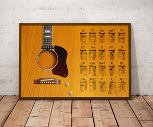 H-LK Horizontal Printed Canvas - Light Brown Acoustic Guitar 1962