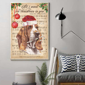 Basset Hound Happy Christmas Canvas
