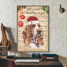 Load image into Gallery viewer, Basset Hound Happy Christmas Canvas