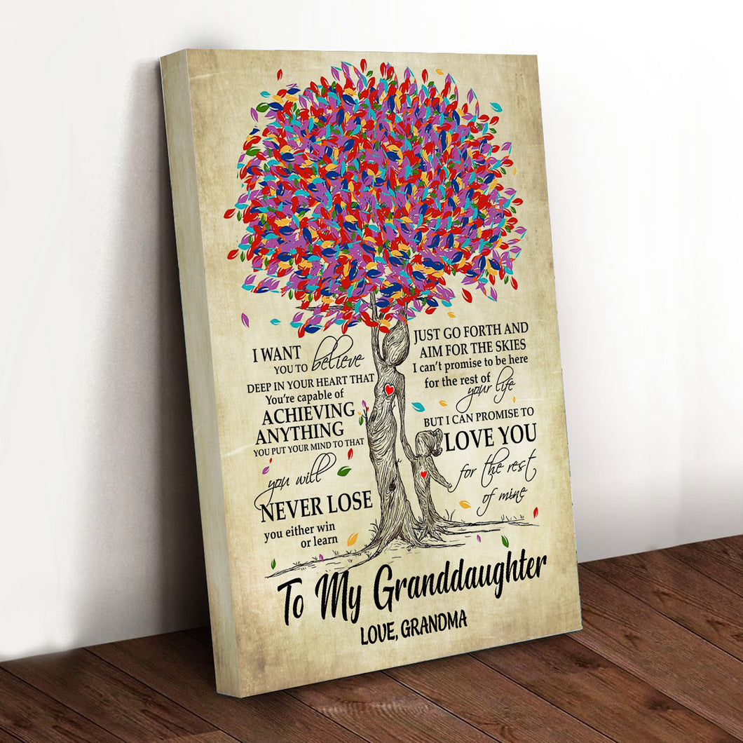 Blooming Family Tree Granddaughter Canvas