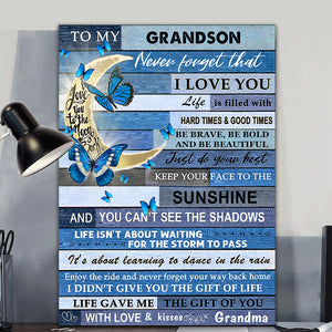 Blue Butterflies Grandson Canvas