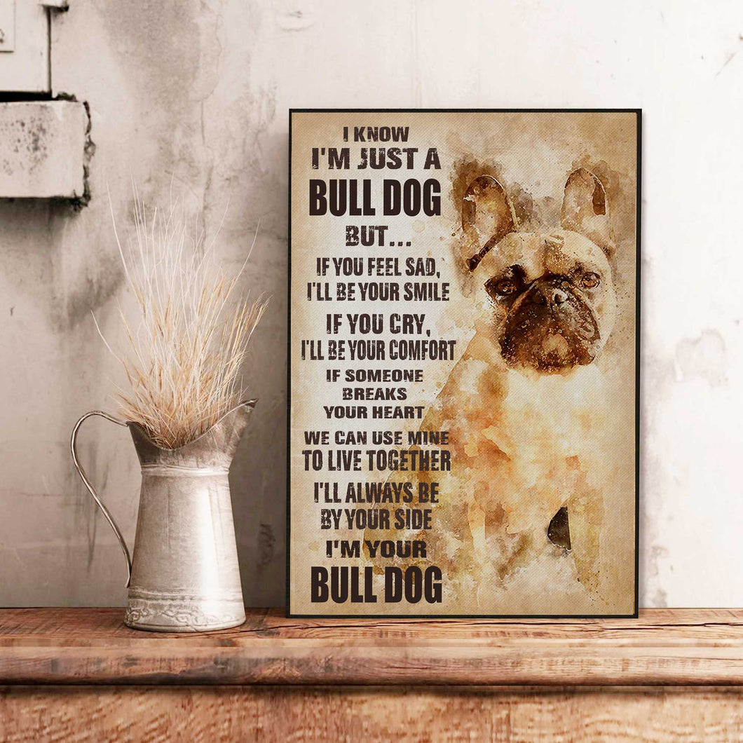 Bulldog Old Paper Canvas