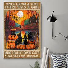 Load image into Gallery viewer, Pumpkin Black Cat Wall Decor Canvas