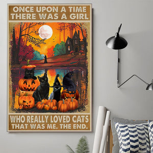 Pumpkin Black Cat Wall Decor Canvas
